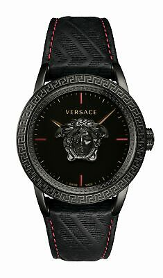 Versace Palazzo Empire Men's Watch Black Leather Black Steel 43mm VERD00218