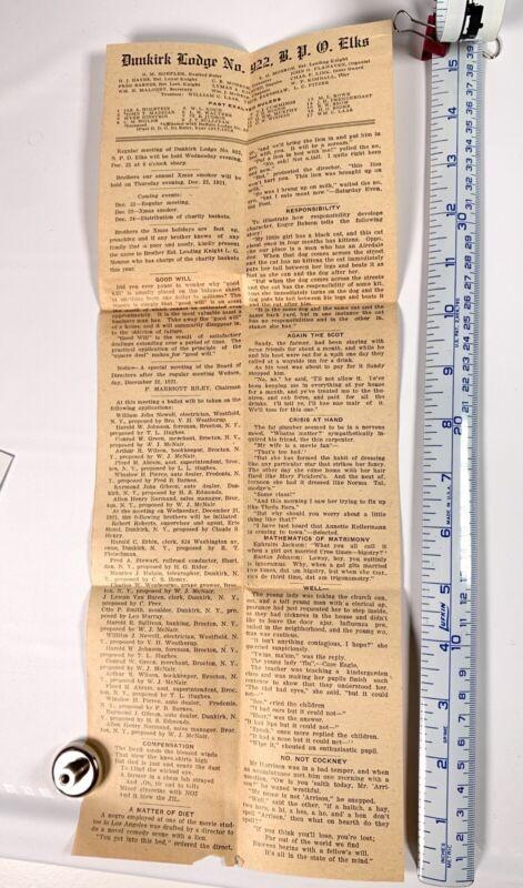 1921 Newsletter Dunkirk New York Lodge # 922 - Elks Lodge