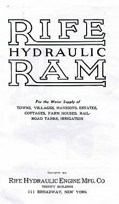 Rife Hydraulic Ram Water Well Pump Manual Book Hit Miss Gas Engine Motor Steam