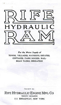 Rife Hydraulic Ram Water Well Pump Manual Book Hit Miss Gas Engine Motor Steam