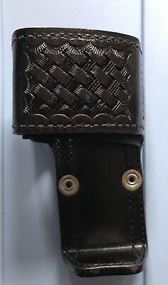 Aetco Radio Holder Black Basketweave Adjustable Leather Nip Part 348310