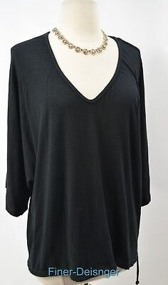 ecoSkin Hemp dolman sleeve T-shirt 3/4 Sleeve blouse Top Shirt V neck tie M NEW