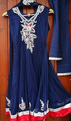 INDIAN PARTY WEDDING STITCHED DRESS PAJAMI FROK SUIT BEADS THREAD WORK NAVY BLUE