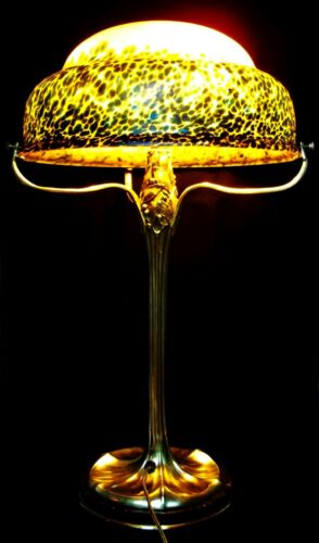 MAGNIFICENT ART NOUVEAU MAURICE DUFRENE TABLE LAMP with  ART GLASS SHADE C1910
