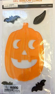 Halloween Jack O Lantern Pumpkin Bats Window Gel Sticker Cling Decor - Halloween Pumpkin Decorating Stickers