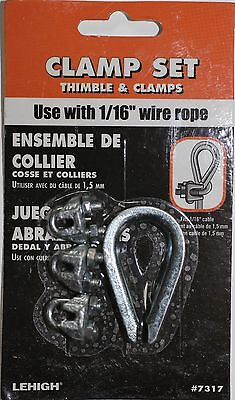 Clamp Set Thimble And 3 Clamps For 116 Wire Rope Cable Lehigh 7317