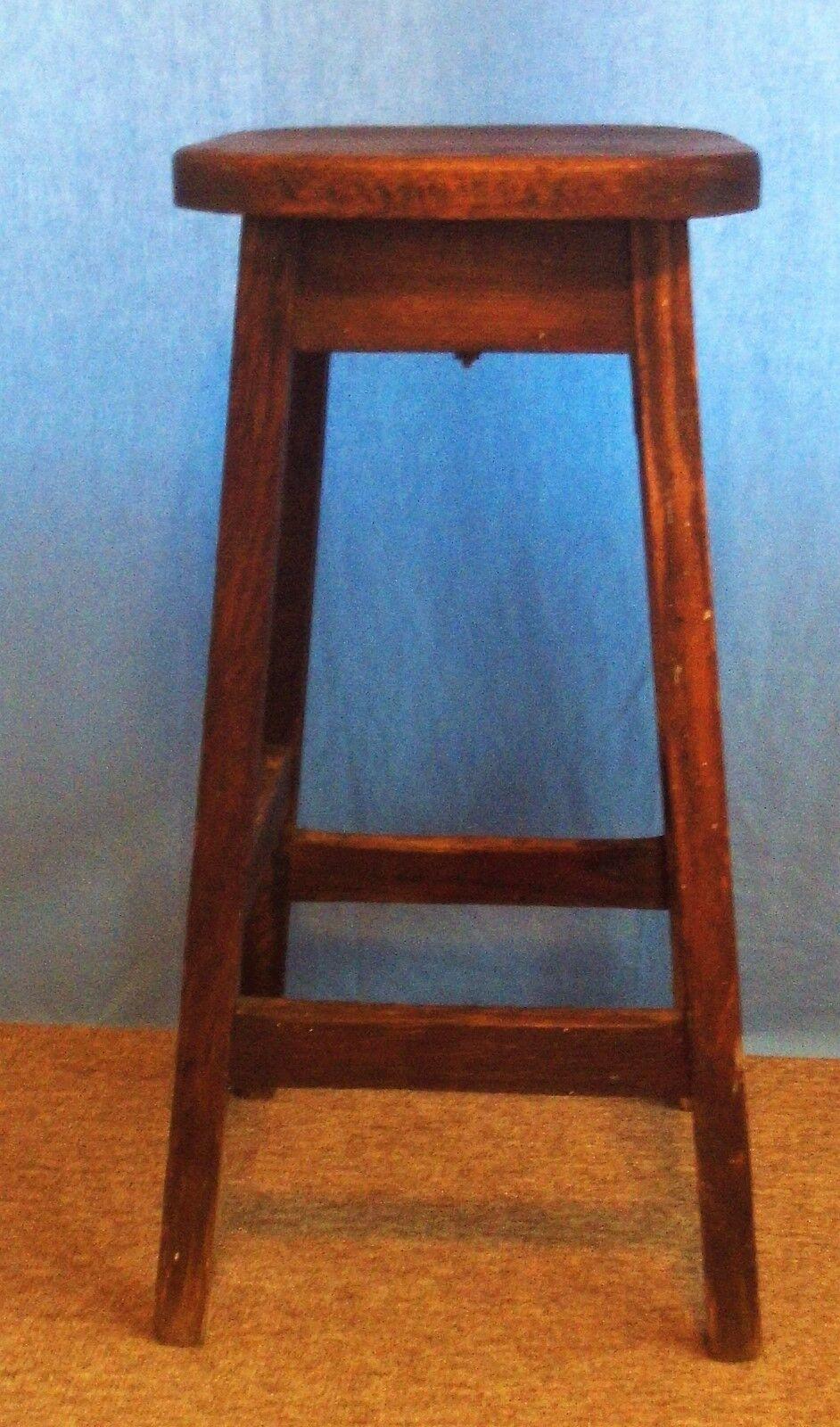 "Antique Primitive Solid Wood Oak 4 Legged Stool ""Very Sturdy"""
