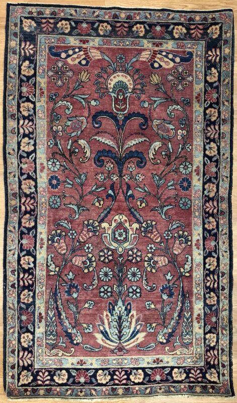 Fantastic Floral - 1930s Antique Oriental Rug - Handmade Carpet - 3 X 5.1 Ft