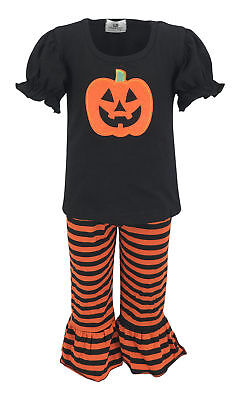Girls Top Pants Halloween Pumpkin Outfit Boutique Toddler Kids Clothes T-shirt