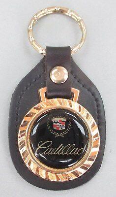 Goldtone CADILLAC Black Leather Royal Classic Keyring 1962 1963 1964 1965 1966