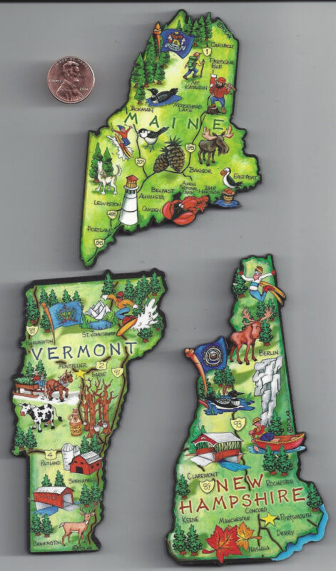 MAINE  NEW HAMPSHIRE VERMONT JUMBO  ARTWOOD STATE MAP MAGNETS - 3 NEW MAGNETS