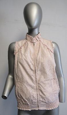 ERMANNO SCERVINO JUNIOR light pink nylon laser cut zip front vest SZ 14 years
