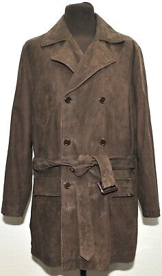 BROOKS BROTHERS SOFT BROWN SUEDE LEATHER TRENCH DOUBLE BREASTED SHORT COAT LARGE