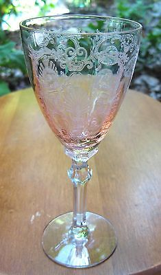 "1928-1944 FOSTORIA GLASS PINK VERSAILLES 5 1/2"" WINE STEM 3 oz. EXCELLENT"