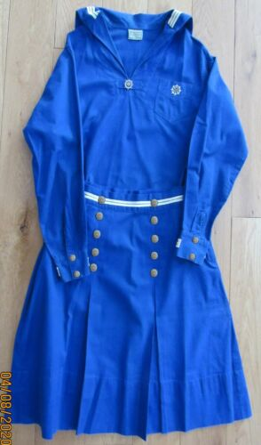 1934 MARINER Girl Scout UNIFORM Middy Top Skirt, IVORY Buttons RARE STERLING Pin
