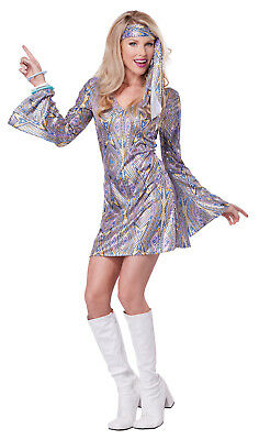 Disco Outfit Womens (70's Disco Dance Sensation Dancing Queen Outfit Adult Costume)