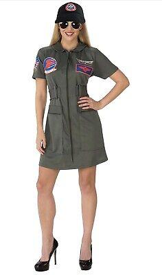 Top Gun Women's Female Sexy Pilot Costume Dress XS 2-6 Include Hat Full Zip NEW