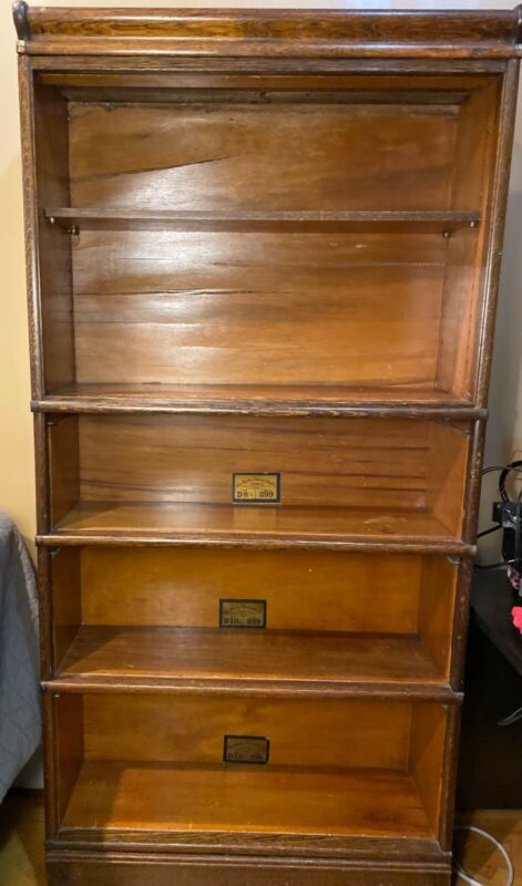 Antique Globe Wernicke Oak Barrister Bookcase 5 Stack, Missing Glass