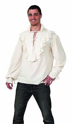 Pirate Shirt Ecru Colored Light Weight Poly Ruffled Front & Cuffs Laced Shirt](Frilly Pirate Shirt)