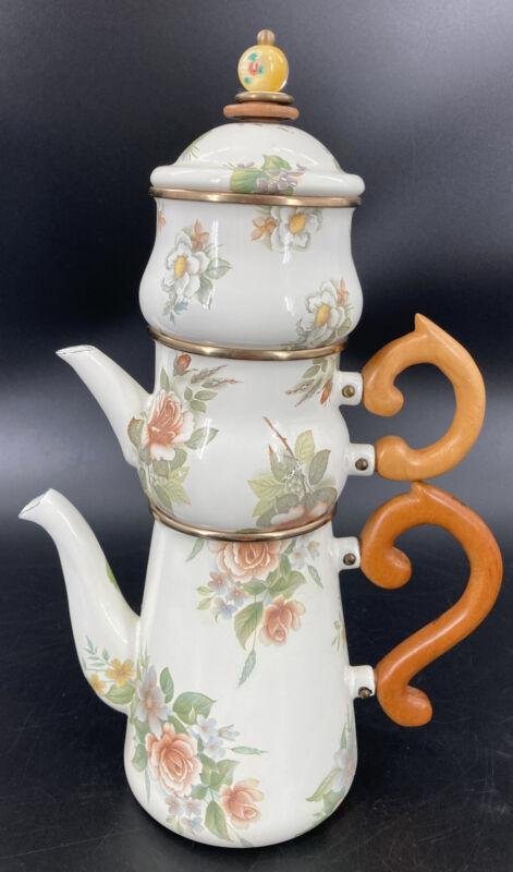 MacKenzie Childs Camp Roses Stacked Coffee Tea Pot Creamer Sugar Enamel 4 Pieces
