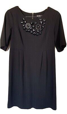 Kensie Women Front Embellished Short Sleeve Midi Little Black Dress Size M