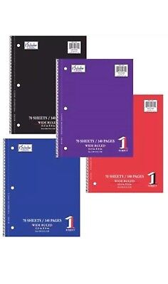 Lot Of 24 Wholesale 1 Subject 70 Sheet Wire Notebook Wide Ruled Spiral Notebook