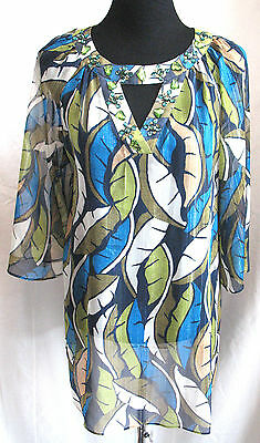 Miss Tina Sheer Tunic Top Jeweled Neck Evening Floral Polyester Sz 6