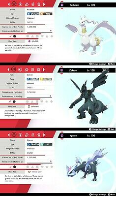 ✨Shiny Zekrom, Reshiram & Kyurem✨ Legendary Pokemon - Pokemon Shield and Sword