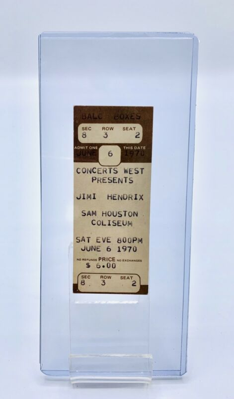 JIMI HENDRIX 1970 ORIGINAL FULL UNUSED CONCERT TICKET SAM HOUSTON COLISEUM