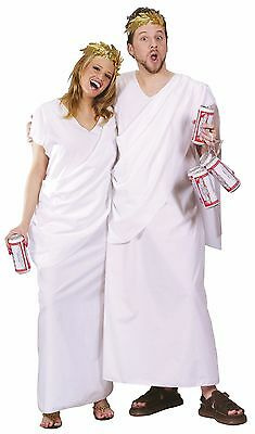 Greek Toga Costume Caesar God Wreath Leaf White Robe Ceasar Adults Mens Womens - Greek Costume Men