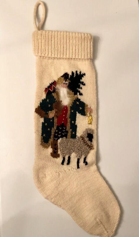 """XL Wool Christmas Stocking Santa Sheep Offwhite Metallic Multi Handknit 26"""" Long"""