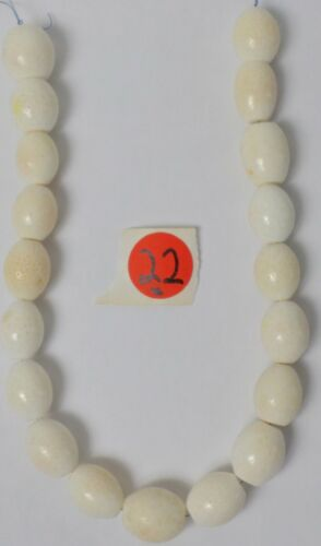 """15"""" Strand Gorgeous  White Coral Gemstone XL Drum Barrel 17-20mm Beads Old Stock"""
