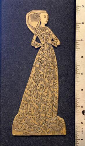 "Lady Margaret Peyton Brass Rubbing Plate Plaque 5""W x 9.75""H Mounted 1484"