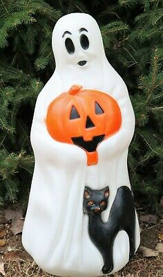 "Vintage 34"" Halloween Ghost Black Cat Pumpkin Empire Blow Mold Don Featherstone"