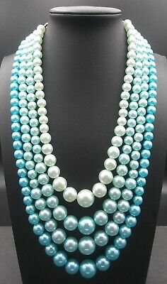 60s -70s Jewelry – Necklaces, Earrings, Rings, Bracelets Vintage Light Blue Necklace 1950's 1960's Signed Hong Kong $29.99 AT vintagedancer.com