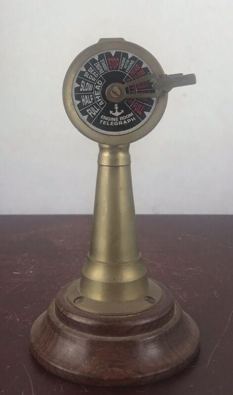 Brass BEAUTIFUL handcrafted Nautical Ship Engine Brass Telegraph Wooden base
