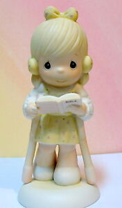 PRECIOUS MOMENTS GIRL w/ CRUTCHES ~1987 EASTER SEALS ~ HE WALKS WITH ME ~ BIBLE