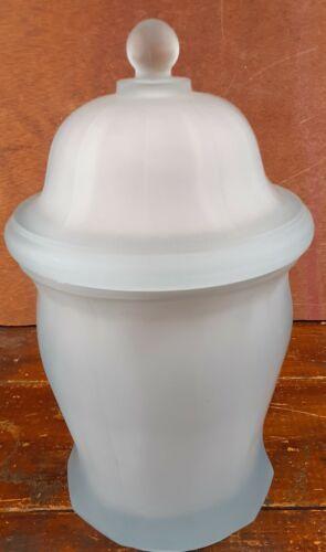Ginger Jar Powder Blue Glass Candy Dish Satin Finish Storage Container