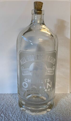 Antique Large Chemist Apothecary Glass Bottle with Beautiful Etched Label