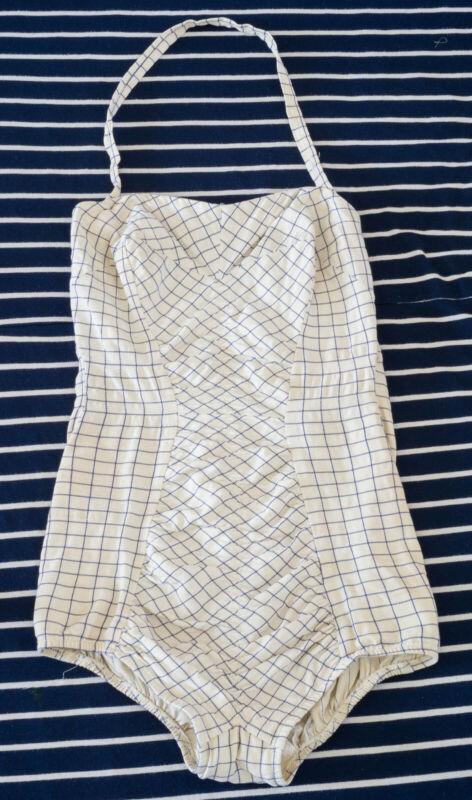 True Vintage Bathing Suit Coronado By Elon 1964 White w/ Blue Lines