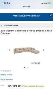 3 month old Zuo California 6 Piece Down Filled Sectional
