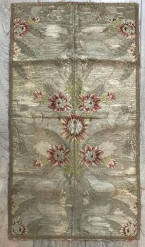Large Piece of Antique 19th Century Silk & Metal Thread Brocade French