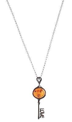 """18"""" Sterling Silver 925 Amber Brown Gemstone Love Key Pendant Necklace NWT"""