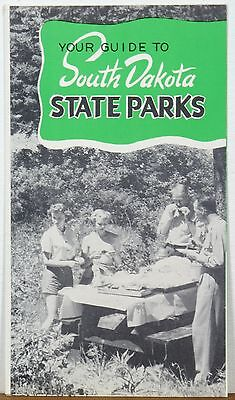 1950's South Dakota State Parks illustrated map brochure unique Smokey Bear b