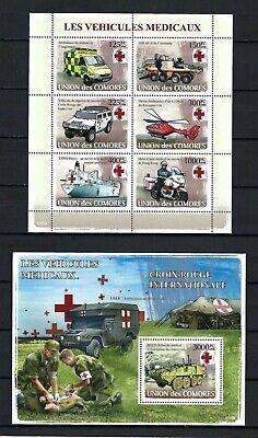 Comoros 2008 Sc#995-6  Medical Vehicles  MNH Miniature & Souvenir Sheet Set $27