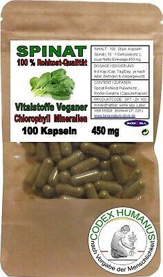 Eisen 100 Kapseln (100 Kapseln 450 mg Spinat. CHLOROPHYLL VITALSTOFFE NÄHRSTOFFE MINERALIEN EISEN)