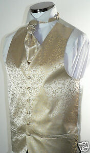 Classic-Champagne-Scroll-Mens-Boys-Wedding-Waistcoat-Matching-Cravat