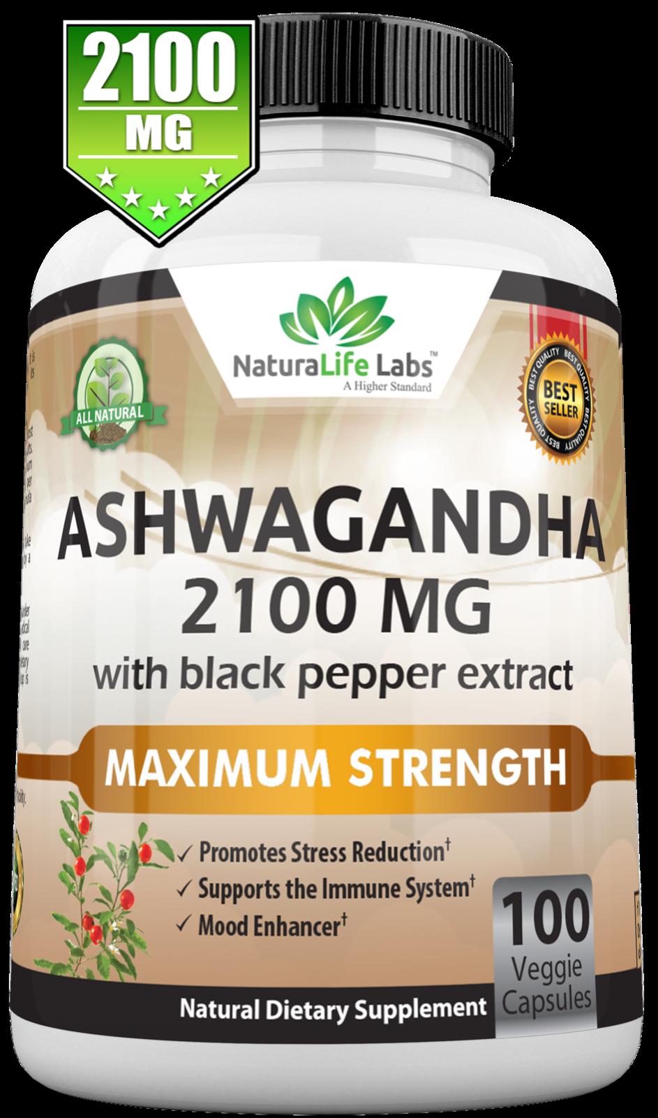 Organic Ashwagandha 2100mg - 100 vegan capsules 100% Pure Organic