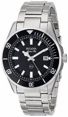 Bulova Marine Star Men's 98B203  Black Dial Silver-Tone Bracelet 43mm Watch