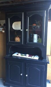 Stunning black refinished farmhouse distressed hutch